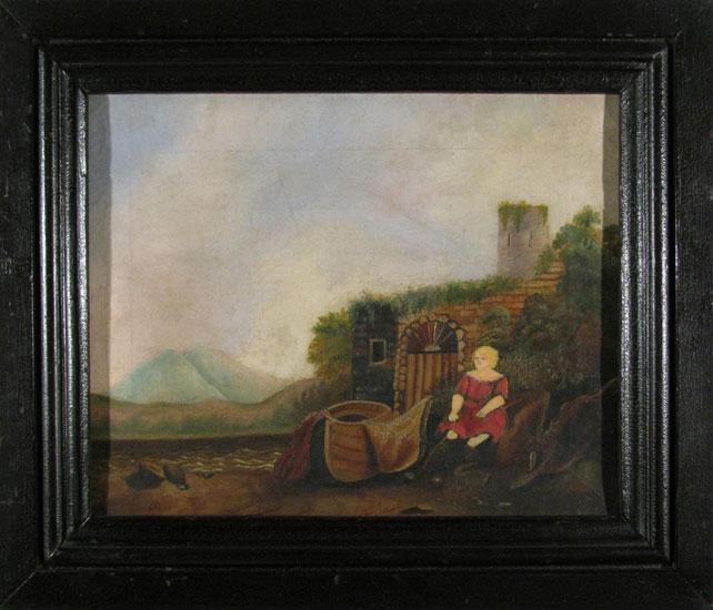 vintage-girl-boat-landscape-frame
